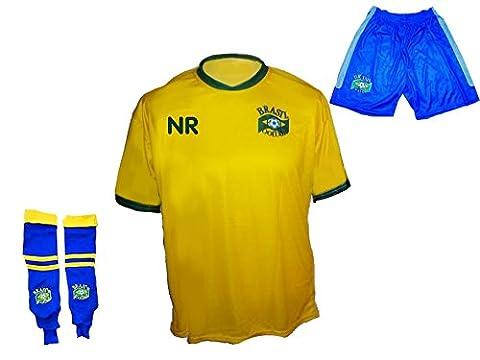 Brasilien Trikot Hose Stutzen mit Wunschname Nummer Kinder Größe 134