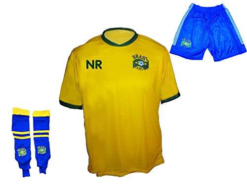 Brasilien Trikot mit Wunschname + Nummer in Kinder Größe 92 (Jugend-fußball-torwart Trikot-mädchen)