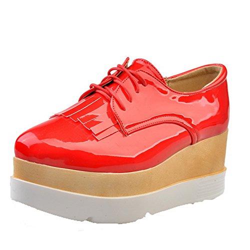 VogueZone009 Femme Pu Cuir Couleur Unie Lacet Rond à Talon Haut Chaussures Légeres Rouge