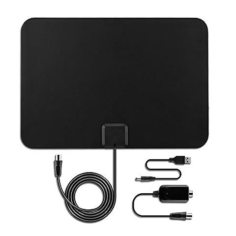 OMorc Verstärkte HDTV Antenne, DVB-T / DVB-T2 Digitale Antenne HDTV 1080p Fernseher Antenne, Ultra-Dünne Zimmerantenne mit 50 Meilen Reichweite & Abnehmbarem Signal Verstärker & 10-Fuß-Koaxialkabel für Besseren Empfang