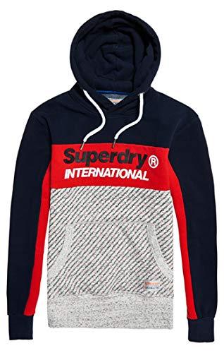 Superdry Herren Trophy Micro AOP Track Hood Pullover, Blau Navy Zr3, Large Micro-herren-pullover