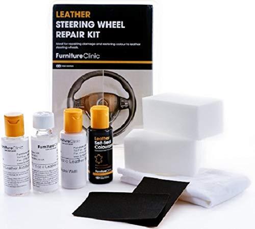 Furniture Clinic - Leder Lenkrad Reparatur Kit - Schwarz für alle Automarken (Lenkrad-kits)