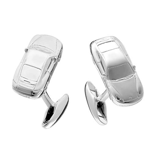 925 Silber-Manschettenknöpfe im Sportwagen Design - hochwertig, massiv und elegant, made in Germany