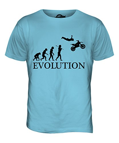 CandyMix Motorrad Stunt Stuntman Evolution Des Menschen Herren T Shirt Himmelblau