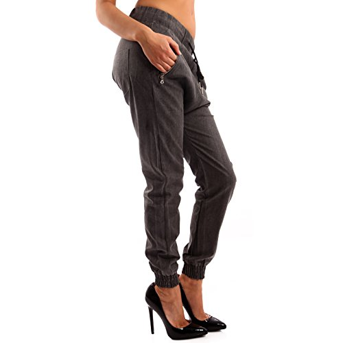 Damen Pump Hose Leinen Look Harems fit Zippertaschen Anthrazit
