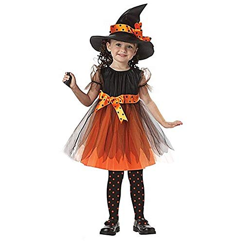 Kleinkind Hexe Kostüm - dPois Mädchen Prinzessin Kleid Party Kleid mit Hexenhut Kleinkind Hexenkostüm für Halloween Karneval Fasching Kostüm Hexenkleid und Hut Abendkleid Orange 86-122 Orange 92-98/2-3Jahre