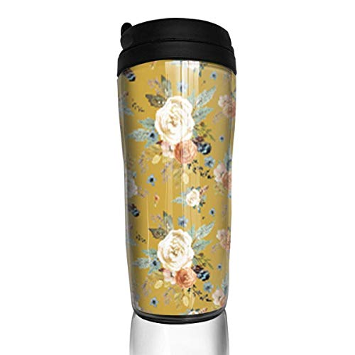 Travel Coffee Mug Western Autumn Mustard Color 12 Oz Spill Proof Flip Lid Water Bottle Environmental Protection Material ABS