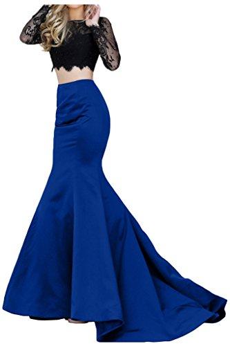 Promgirl House Damen 2016 Modisch Etui Mermaid Spitze Satin Abendkleider Party Ballkleider Lang mit Aermel Royalblau