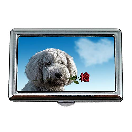 Zigarettenetui/Box, Valentinstag Hund Tier niedlich Rose Herz Liebe, Visitenkartenetui Visitenkartenetui Edelstahl