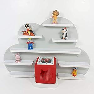 Tonie Board, Wolke in grau mit weißen Regalen, ideale Aufbewahrung für Tonie Box und Tonie Figuren, Kinderzimmer Regal, Deko Board, Musikboxaufbewahrung, Hängeregal