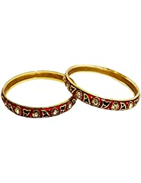 AccessHer Set Of 2 Gold Plated Bangles With Yellow, Red, Green, Blue Meenkari And Stones