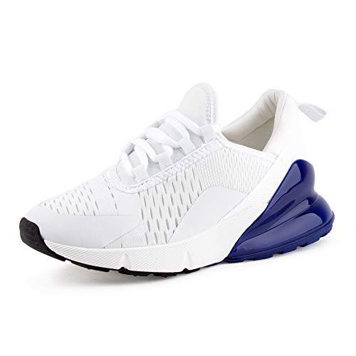 Fusskleidung Damen Sportschuhe Sneaker Dämpfung Runners Fitnesschuhe Jogging Gym Laufschuhe Weiß Blau EU 40
