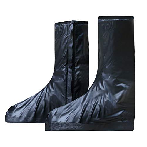 VLCOO Überschuh, Schuhe Abdeckung aus PVC, Überschuh wasserdichte, rutschfeste und Wiederverwendbar, Regenüberschuhe Mit Reißverschluss, Motorrad Schuhüberzüge Langer Abschnitt (Größe XXXL, Schwarz) -