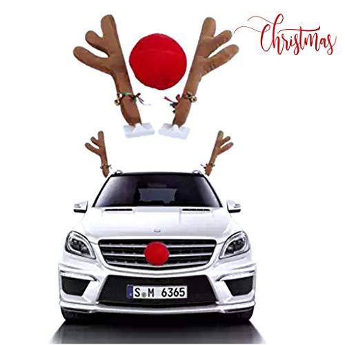 Omiky® Weihnachtsdekor für Auto,Rentier Auto Rudolf für Auto Rentier kostüm weihnachtsdeko für Truck Van SUV (Rot) (Für Autos Kostüme)
