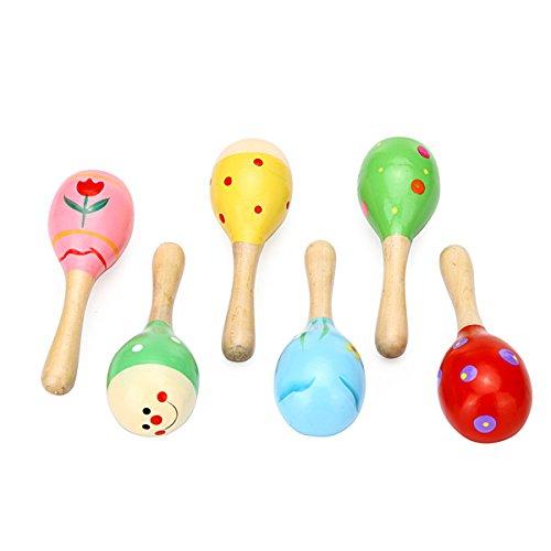 Bluelover Sand Holzhammer Maracas Rassel Bell Instrumente Babyspielzeug