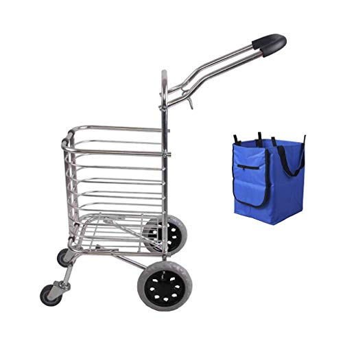 IYHFXVCBD Einkaufswagen 20L Volumen Einkaufswagen-Laufkatze Aluminiumlegierung Lightweight-2kg Faltbare 4 Räder für einkaufen Picknick Utility Trolley Stair Climber