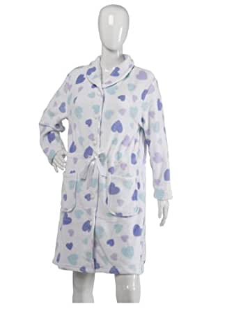 Ladies Slenderella Heart Design Dressing Gown Soft Fleece Button Up Bathrobe Small (White)