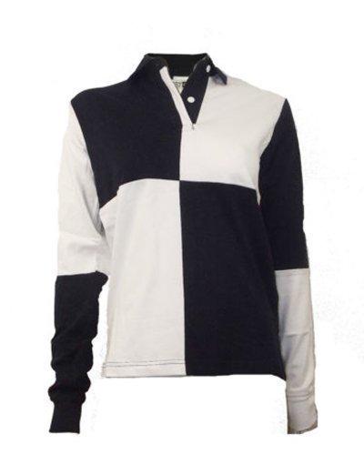Damen Rugby Shirt 100% Baumwolle Einfarbig Oder Harlekin - S, Marineblau / Weiß - RB05F (Harlekin-baumwolle)