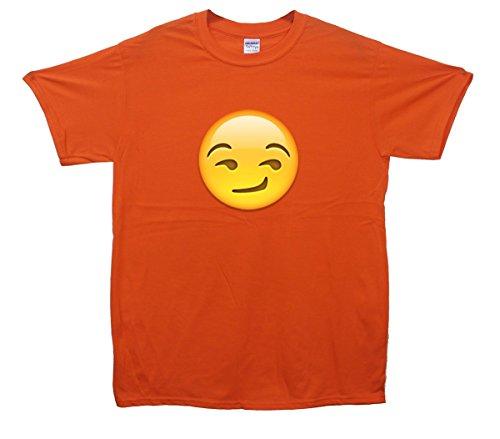 Suggestive Smile Face Emoji T-Shirt Orange