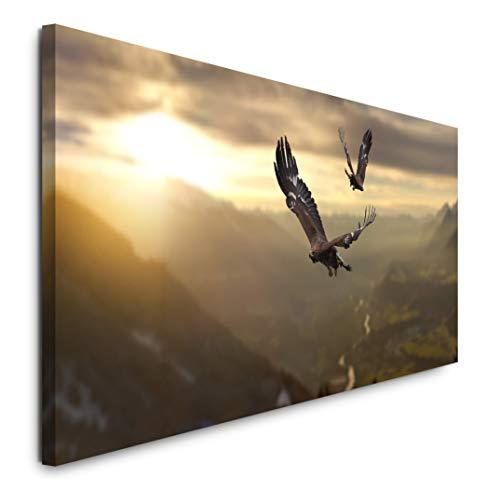 Paul Sinus Art GmbH Adler in Einer Gebirgslandschaft 120x 50cm Panorama Leinwand Bild XXL Format Wandbilder Wohnzimmer Wohnung Deko Kunstdrucke (Bilder Adler)