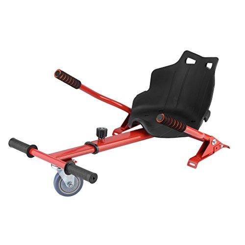 Homgrace Hoverkart Sitzscooter Längenverstellbar Kart Sitz für alle Hoverboards Self Balancing Scooter Elektro Go-Kart Balance Scooter (6,5, 8 und 10 Zoll), passt für Kinder oder Erwachsene Rot 1