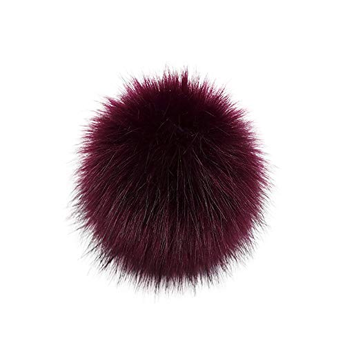 TUDUZ DIY Kunstpelz Pom Poms Ball mit Druckknopf/Gummiband Abnehmbarer Flauschiger Kunstfell Bommel Pompon für Mützen und Beanies Schuhe Schals Tasche Zubehör(A-1)