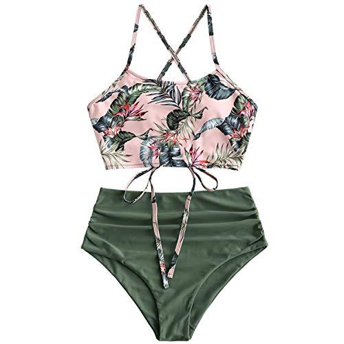 ZAFUL Damen Tankini-Set Gepolsterte Bikini Set mit Blattdruck Schnür Tankini Hohe Taille Badeanzug Bikinis Grün-1 Small