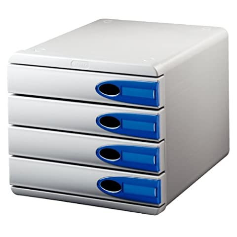Leitz 52060005 Schubladenset Allura, 4 Schubladen, Polystyrol, transparent blau