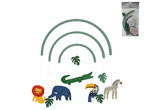 Chichi Gifts Gisela Graham Hänge-Mobile aus Holz, Dschungelmotiv, Löwe, Elefant, Zebra. (Mobile Ballerina)