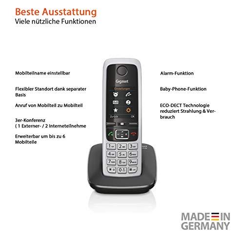 Gigaset C430HX Telefon – Schnurlostelefon / Mobilteil – mit TFT-Farbdisplay – für DECT / CATiq Router – Freisprechfunktion – IP Telefon – Schwarz - 5