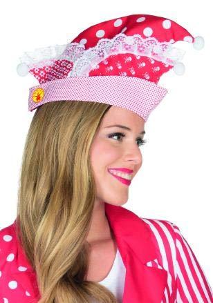 Rubies 4380100 - Narrenkappe rot/weiss * Uniform Mütze* mit Mustern & Spitze