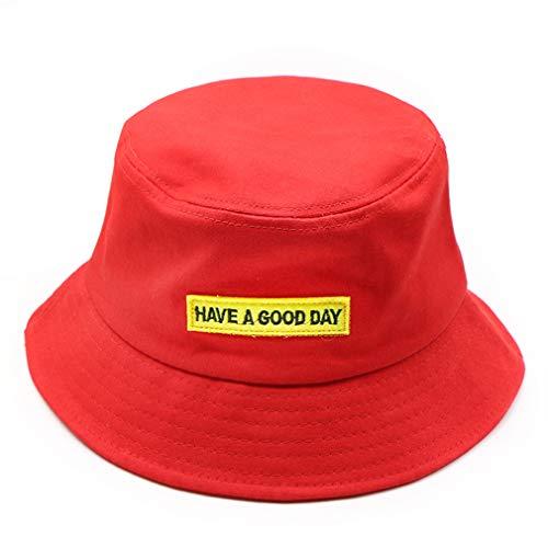 Unisex Stickerei Bucket Hat Hip Hop Fischer-Hut UV-Schutzkappen Weit Erwachsener Hut-Sommer-Sonnenschutz-Liebhaber Flat Hat für Männer Frauen (rot)
