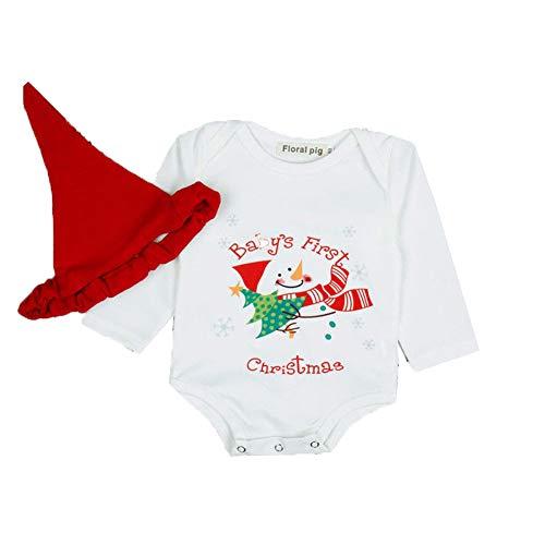 Vpuquuz Neugeborenes Kinder Body Langarm Wollbody mit Hut,Weihnachtsmann,Engelbody (Weiß, 100)