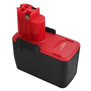 FLOUREON® 2607335160 Batterie pour Bosch 2 607 335 210 2607335210 14.4V 2,0Ah Ni-CD Noir+Rouge