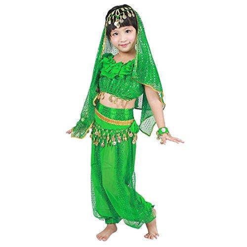 BOZEVON Indisches Bauchtanz-Kostüm der Mädchen - Berufstanz-Tanz-Kleid-Kleidung, Oberseiten + Hosen + Taillenketten + 2 Bracelets + Schleier (Grün, EU M = Tag L)