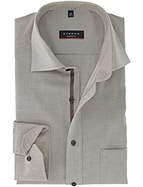 eterna Modern Fit Langarmhemd Chambray hellbraun melange superlanger Arm 72 cm 8100-24-X157