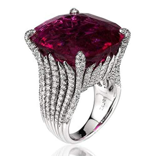 Cwemimifa Zirkonia Jubiläum Ehering Ring Kanal Set 925 Sterling Silber, Schillernde Damenmode natürlichen Rubin Diamant Engagement antiken Ring, Silber, 7# (Engagement Rubin-diamant-ring)
