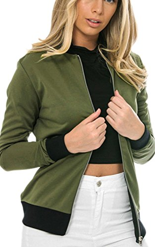 Minetom Femmes Printemps Automne Décontractée Veste Court Blouson Slim Fit Manteau Mode Manteaux Vert