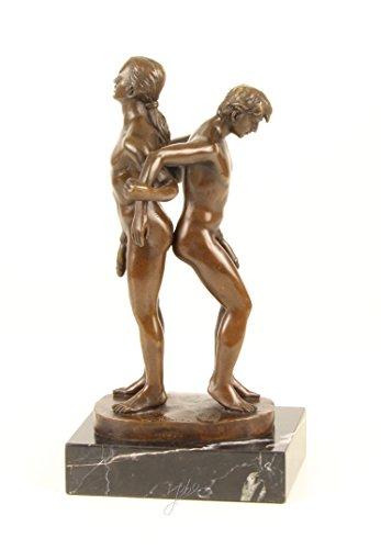 Bronzefigur Skulptur Motiv: 2 Männer nackt Akt auf Marmorsockel bronze Höhe 27 cm