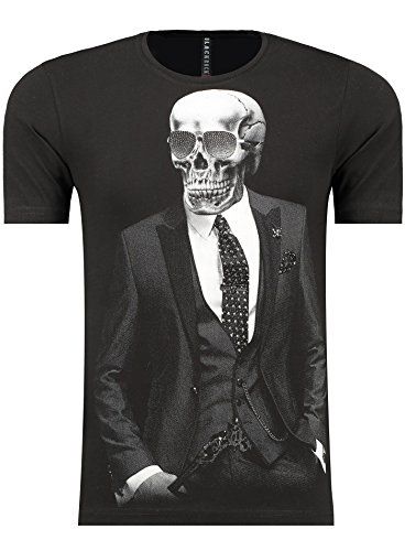 BlackRock Herren T-Shirt Slim Fit Totenkopf Skull Bones Adler - 71313 - BLACK L