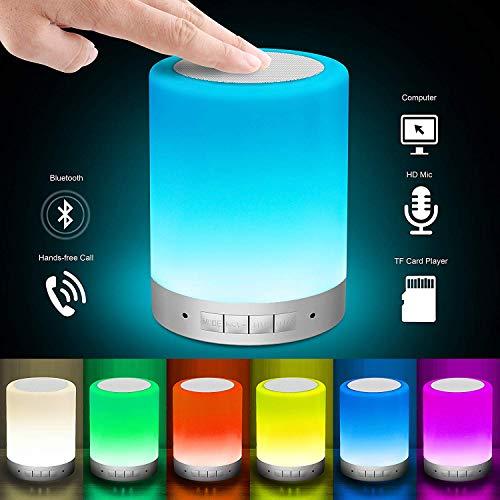 Smart Light Lautsprecher, Amouhom LED Nachtlicht mit Bluetooth-Lautsprecher Dimmbare Touch Nachtlicht USB Ladegerät Stimmungslicht mit 7 Farbwechsel für Kinder, Romantische Weihnachten Geschenke