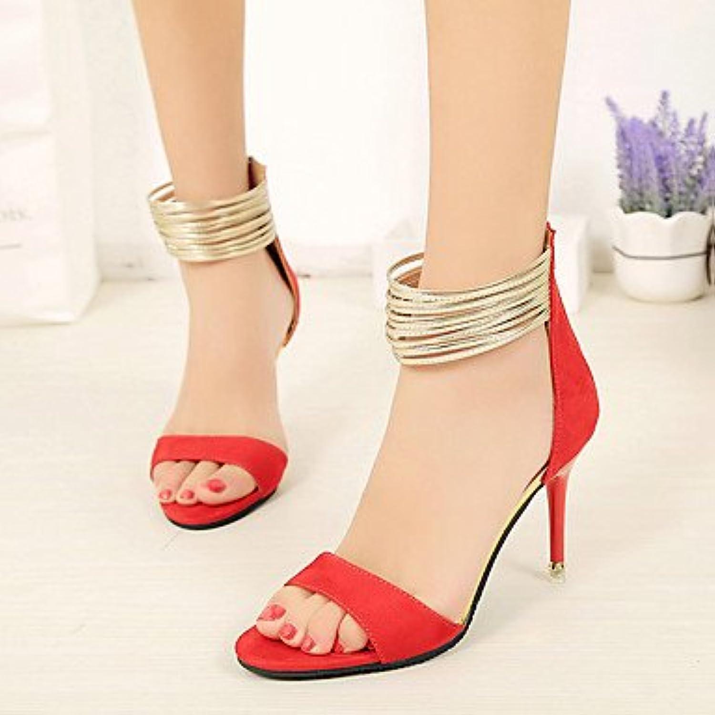YFF fibbia Donna tacchi Scarpe Casual in similpelle Stiletto Heel fibbia YFF di strass,rosso,US8  Parent e46b67