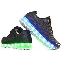 Envio 24 Horas Usay like Zapatillas LED Con 7 Colores Luces Carga USB Negro Hombre Mujer Unisex R Talla 36 hasta 41 Envio Desde España (EU38)