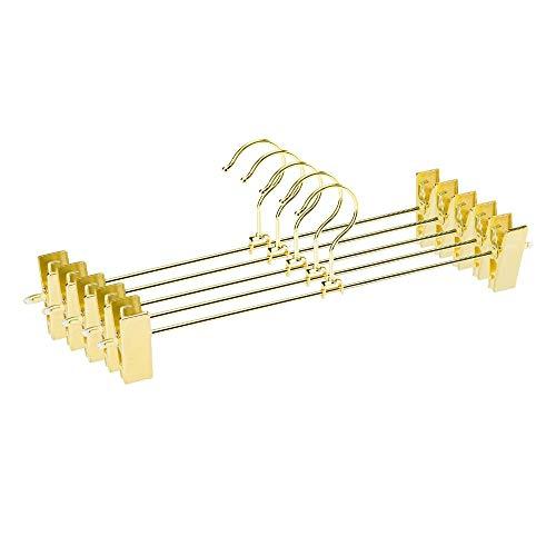 Inveroo 12pcs Gold Metal Heavy Duty Pants Rock Slack Hangers, Trousers Hanger with Clips Hanger Rack Swivel Hook (Gürtel Swivel Hanger)
