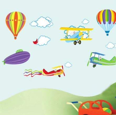 Cartoon Airplane and Hot Air Balloons Removable Wall sticker Vinyl Decals For Kids Room Boys Home Decoration Mural