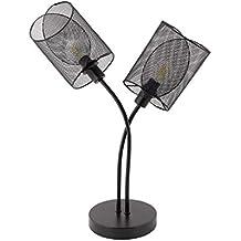 Lámpara de Sobremesa Klam 2 Focos Negro Negro efectoLED