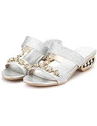 GTUFDRG Sommer Frauen Sandalen Rutschen Strass Glitter Abnormale Ferse Fashion Sweet Silver 6