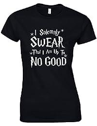 I Solemnly Swear I Am Up To No Good Ladies Black T Shirt