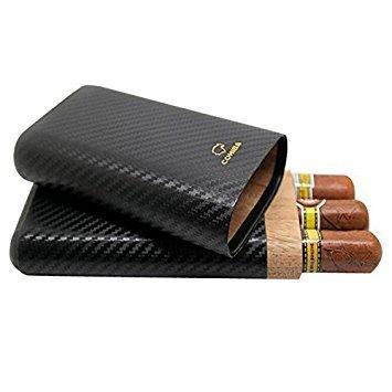 Dakoufish Fibre de carbone Cuir 3Tube en bois Cigar Coque/support de voyage humidor