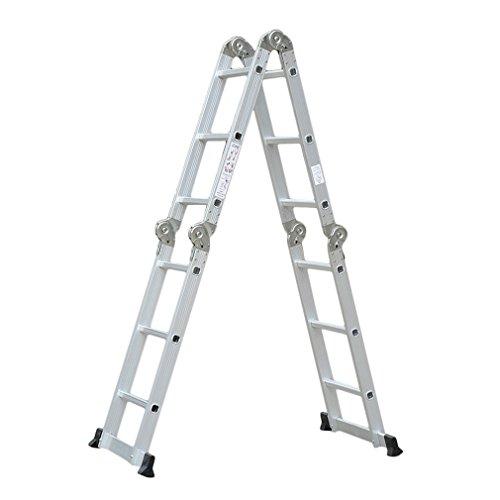 COMOTS 6in1 4,7M Mehrzweckleiter Vielzweckleiter Universalleiter Leiter Aluminium Multigerüst Klappgerüst Arbeitsleiter Multi Fold Step Light Gewicht Mehrzweck Erweiterung 4 x 3 Stufen